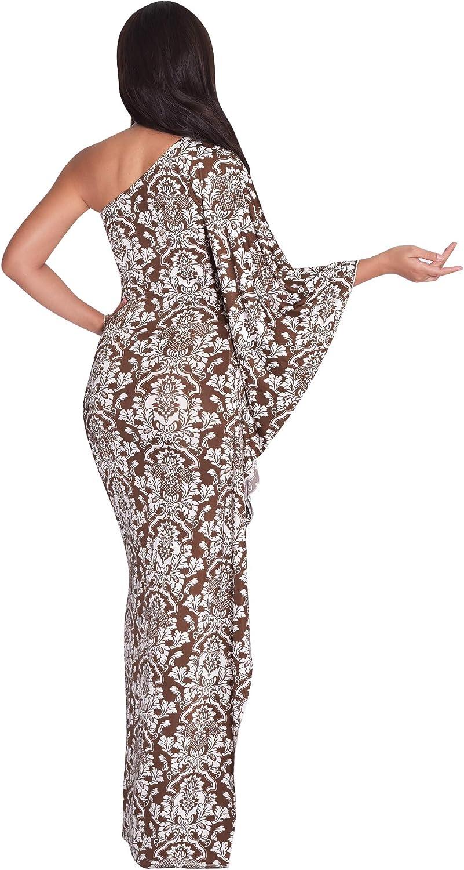 KOH KOH Womens Long One Shoulder Semi Formal Cocktail Evening Print Maxi Dress