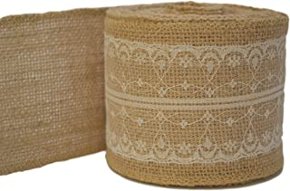 Firefly Craft Burlap and Lace Ribbon, 10 Yards by 3 inches