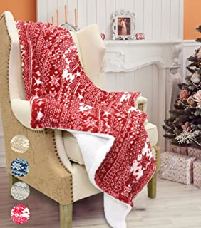 Catalonia Christmas Sherpa Throw Blanket,Super Soft Warm Fuzzy Comfy Lambswool Snowflake Blankets Reversible Plush Fleece,Christmas Theme Throws (50X60 inches,Red)
