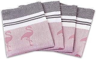 myHomery Geschirrhandtücher mit modernen Motiven im praktischen 4er Set aus 100% Baumwolle Flamingo & Zickzack Set - Altrosa | 4er-Set - 50 x 70 cm