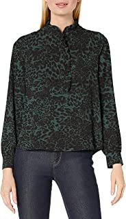 Lark & Ro Amazon Brand Women's Long Sleeve Ruffle Placket Button-up Blouse