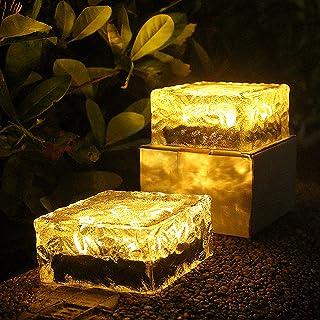 SLDHFE Lot de 2 lampes solaires en forme de cubes de glace - Blanc chaud - En verre dépoli - Pour jardin, cour, patio, déc...