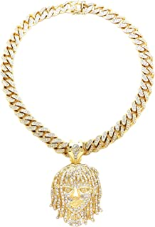 Esskeetit Pump Pendant with 20 Inch Long Inlaid Cuban Necklace