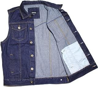 Faction Vest dk.Blue Denim Jean Biker Motorcycle Jacket Sleeveless Men's.