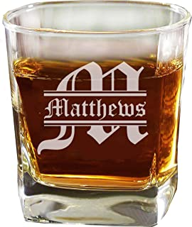 Custom Personalized Square Rocks Glass Tumbler - Wedding Party Groomsmen Father's Day Gifts - Engraved Monogrammed Drinkware Glassware Barware Etched for Free
