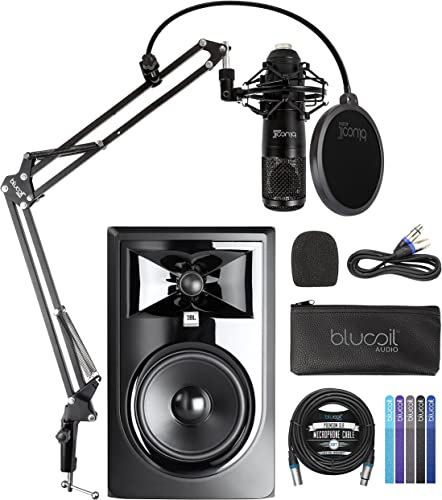 """new arrival JBL Professional 306P MkII Next-Generation 6.5"""" Studio 2021 Monitor (Single) Bundle with Blucoil Cardioid Condenser Studio XLR Microphone, Boom Arm Plus Pop Filter, 20' XLR popular Cable, and Cable Ties (5-Pack) outlet sale"""