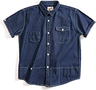 MADEN Men's Casual Loose Fit Button Down Washed Cotton Short Sleeve Denim Shirt