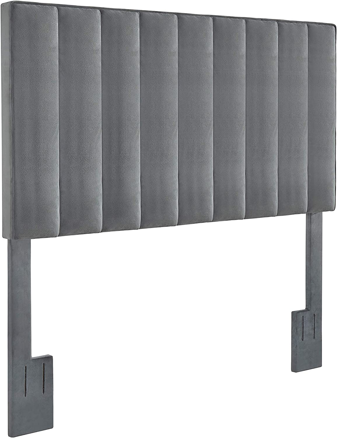 Right2Home Recommended Full Sale item Queen Velvet Channel Divan G Headboard-Charcoal