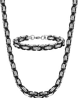 Jstyle 8mm Stainless Steel Mens Necklace Bracelet Set...