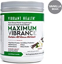 Vibrant Health - Maximum Vibrance, Plant-Based Meal Replacement Rich with Vitamins, Minerals, Antioxidants, and Protein, Gluten Free, Vegetarian, Non-GMO, 15 Servings (FFP)