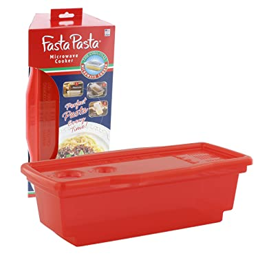 Microwave Pasta Cooker - The Original Fasta Pasta (Red) - No Mess, Sticking or Waiting for Boil - Container, Lid & Strainer All In One