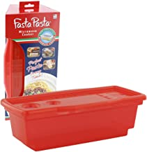 Microwave Pasta Cooker - The Original Fasta Pasta (Red) - No Mess, Sticking or Waiting for Boil - Container, Lid & Straine...