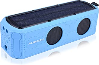 Solar Power Bluetooth Speaker Nuboom Outdoor w. 55+ Hours Playtime, 10W Stereo Subwoofer Bass 4400mAh Power Bank MicroUSB/Solar Charged IPX5 Splashproof and Bluetooth 4.0 Connection (Skylight Blue)