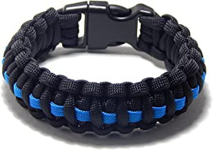 Paracord Survival Bracelet Black Thin Blue Line Police