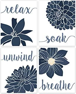 Relax, Soak, Unwind, Breathe Blue & White with Gray Tone Bath Flower Signs Poster Prints, Set of 4 (8x10) Unframed Photos, Wall Art Decor Gifts Under 20 for College, Home, Student, Teacher, Floral Fan