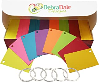 "Debra Dale Designs - 560 Small Blank Study Flash Cards - Single Hole Punched - 5 Rings - 2"" x 3.5"" - 8 Astrobrights Cardstock Colors - 70 Each Color - Premium Heavy 100# Cover Card Stock"