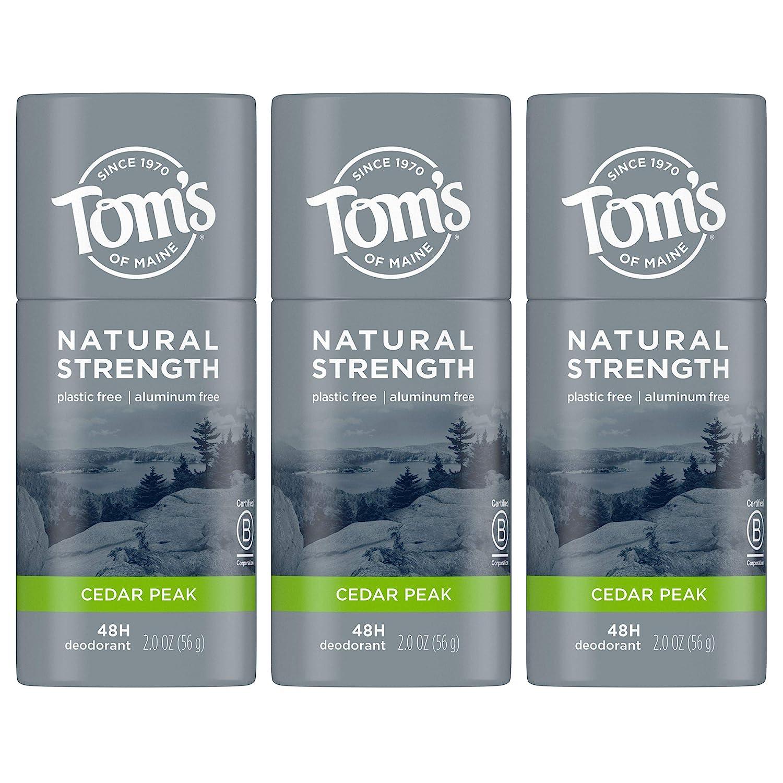 Tom's of Maine Natural Strength Plastic-Free Aluminum-Free Deodorant for Men, Cedar Peak, 2 oz. 3-Pack : Beauty & Personal Care