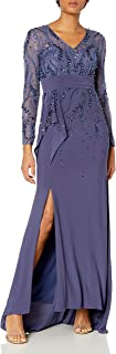 Decode 1.8 Women's Long Sleeve V Neck Beaded Illusion Gown