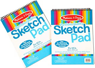 "Melissa & Doug Sketch Pad, Arts & Crafts, Fade-Resistant, Acid-Free White Paper, 50 Sheets, 2-Pack, 9"" W x 12"" L, Great Gift for Girls and Boys - Best for 3, 4, 5 Year Olds and Up"