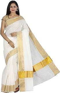 JISB Women's Cotton Kerala Kasavu Saree with Running Blouse (SAKSA01041; Cream)