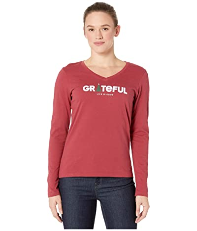 Life is Good Grateful Holiday Long Sleeve Crushertm Vee (Cranberry Red) Women