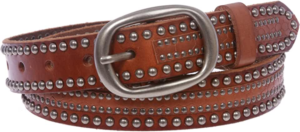 Snap on Oval Riveted Nailheads Studded Skinny Leather Jean Belt