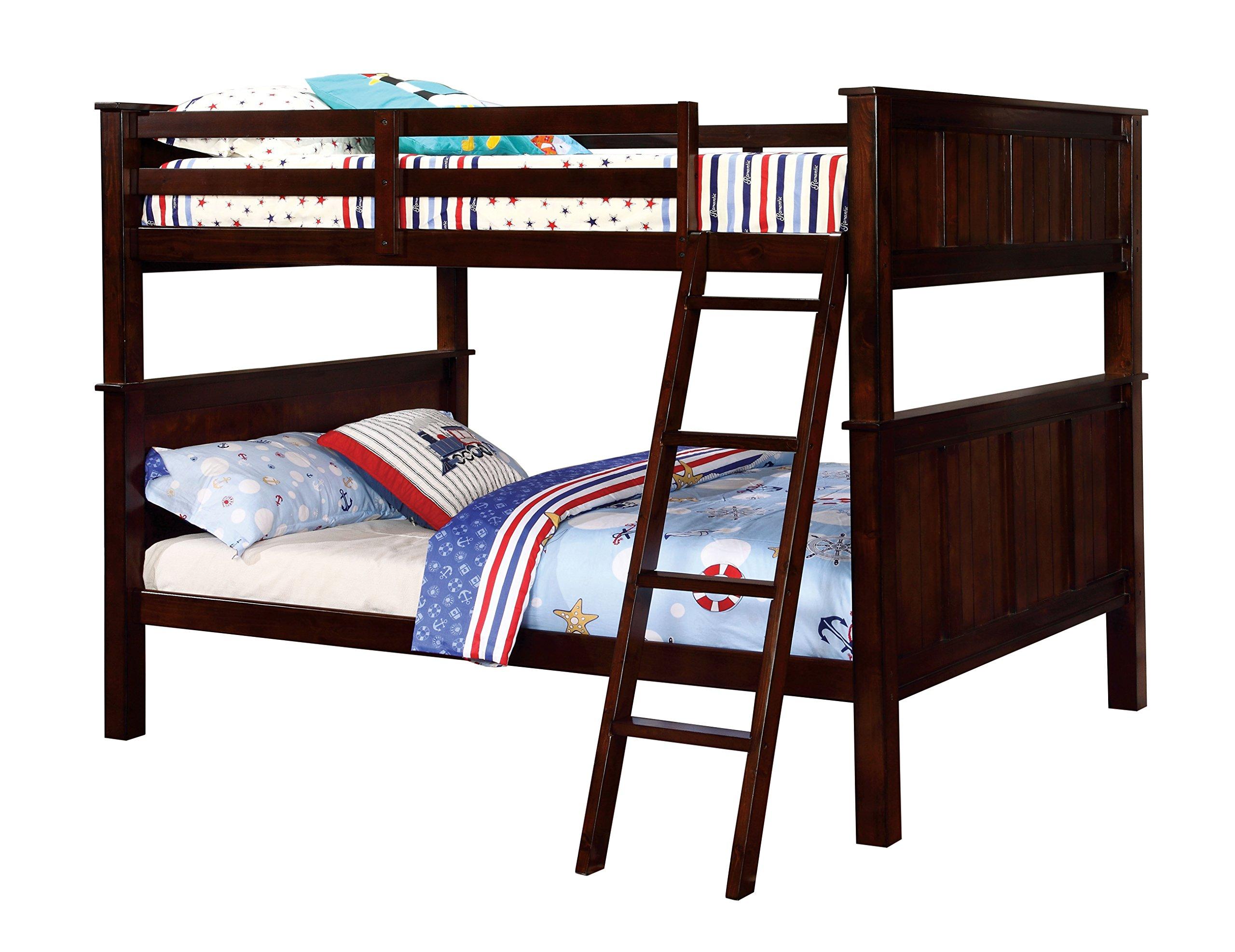 Amazon Com Furniture Of America Fidel Contemporary Bunk Bed Full Dark Walnut Furniture Decor
