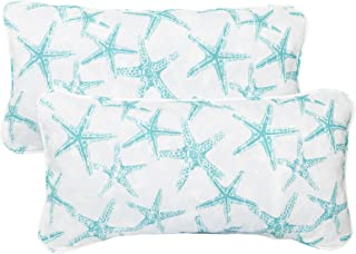 Mozaic Company Indoor/ Outdoor 12 by 24-inch Corded Pillow, Aqua Starfish, Set of 2