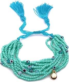 LESLIE BOULES Boho Chic Multi Strand Miyuki Glass Seed Beads Adjustable Tassel Bracelet Turquoise Color