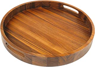 Virginia Boys Kitchens Round Serving Tray – 16.5 Inch Walnut Wood Platter with Handles - Perfect for Serving or Centerpiece Display on Ottoman and Coffee Table