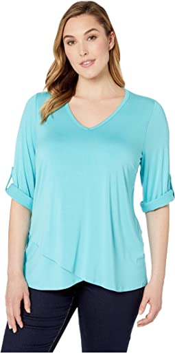 Plus Size Tab-Sleeve Crossover Top