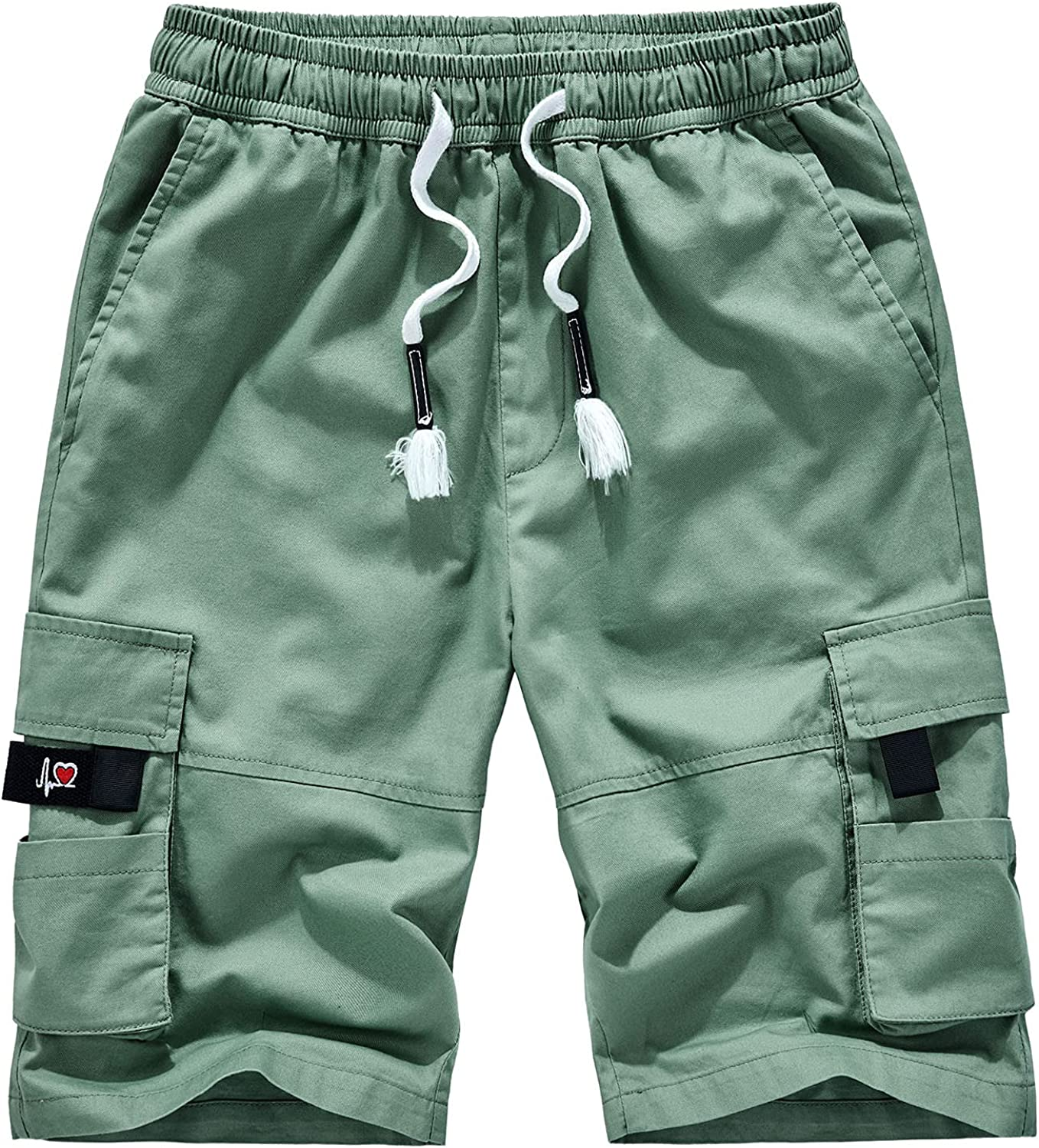 LEIYAN Mens Work Cargo Shorts Casual Drawstring Relaxed Fit Athletic Workout Carpenter Shorts Beach Hippie Shorts