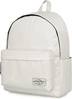 SIMPLAY+ High School Backpack, Durable Water-resistance Bookbag with 11 Storage Pockets & Padded Straps, White