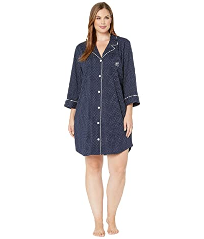 LAUREN Ralph Lauren Plus Size Heritage Knits 3/4 Sleeve Classic Notch Collar Sleepshirt (Navy Dot) Women