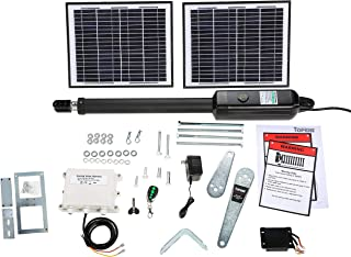 TOPENS A5S Automatic Gate Opener Kit Medium Duty Solar Single Gate Operator for Single Swing Gates Up to 16 Feet or 550 Pounds, Gate Motor Solar Panel