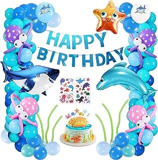 XDDIAS Boys Girls Ocean Themed Birthday Party Decorations, Under The Sea Party Supplies, Marine Animals Balloon with Happy...