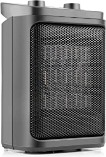 OPOLAR HE05, Portable Electric Indoor Office Bedroom Small Room Ceramic Space Heater with Thermostat, Auto Oscillating, 800/1500 Watts, 7 Inch, Black