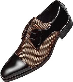 Mens Draper Shiny Metallic Satin Patent Two-Tone Cap Toe Lace up Oxford Dress Shoe Trimmed with Black Patent