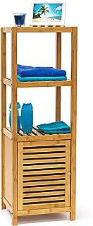 Relaxdays estantería de bambú con 3, 4 o de 5 estante de las superficies de soporte de estante de pared con puerta de estantería de madera para el baño y el salón de estantería de madera con 3, 4 o 5 compartimentos, colour blanco y negro, bambú, naturaleza, 4 Ablagen