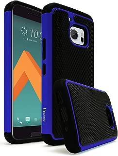 HTC 10 Case, Bastex Hybrid Slim Fit Rugged Black Rubber Silicone Cover Hard Plastic Blue & Black Shock Case for HTC 10 HTC M10 HTC One M10
