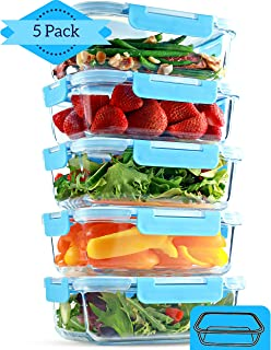 1 Compartment Glass Meal Prep Containers [5 Pack, 35 Ounces] - Glass Lunch Containers, Food Storage Containers with Lids, Food Prep Containers, Glass Bento Box for Kids & Adults, Bento Lunch Box