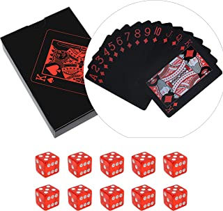 Poker Playing Cards Dice Sets Poker Table Cards PVC Waterproof Stacking Cup Dice Grade AAA Precision 19mm Serialized Casino Craps Dice with Razor Edges and Corners for Classic Magic Tricks Deck