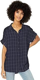 Goodthreads Amazon Brand Women's Modal Twill Short-Sleeve Button-Front Shirt, Navy/Grey Windowpane, Small