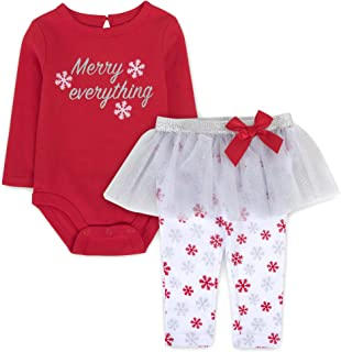 Christmas Baby Girl Outfits – Baby Holiday Clothes, Rompers with Tutu Attached for Ages 3-6 Months