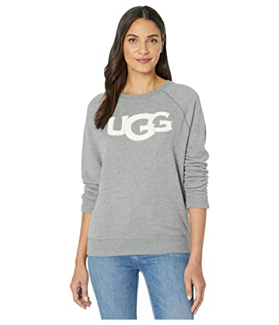 UGG Fuzzy Logo Crew Neck Sweatshirt (Grey Heather) Women