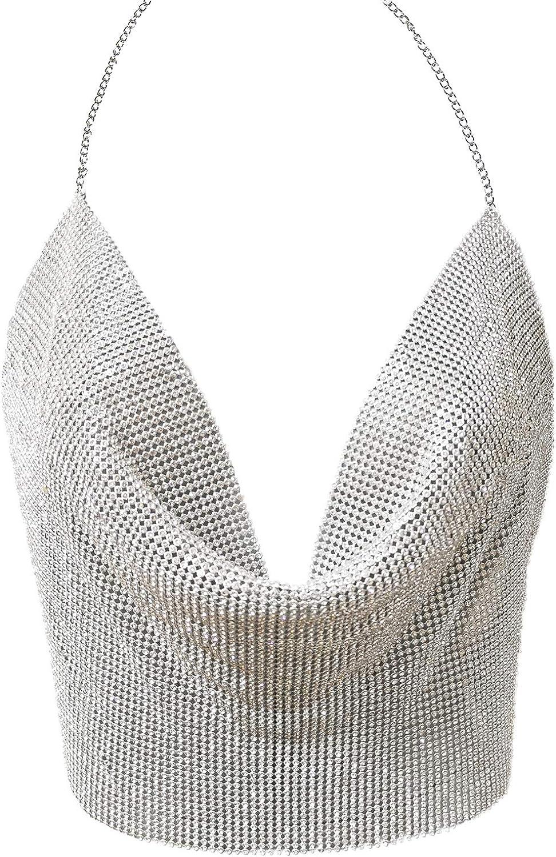 Croozy Women's Sexy Metallic Sequin Body Chain Shimmer Backless Halter Crop Top Adjustable Harness Bikini Chest Chain