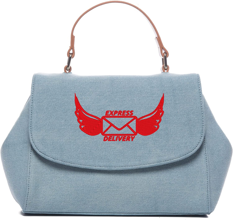 Denim Jean Handbags Cartoon Express delivery Embroidery designs Large Capacity Handbag Shoulder Bag