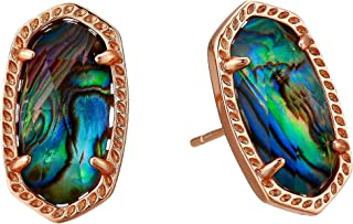 Ellie Oval Stud Earrings in Abalone in Rose Gold