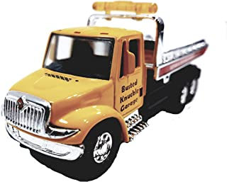 Showcast International Yellow Busted Knuckle Garage Flatbed Tow Truck Functional Rollback Wrecker 1/64 Scale Commercial Vehicle