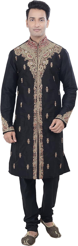Rajwada Ethnic Indian Design Black Kurta Sherwani for Men 2pc Suit